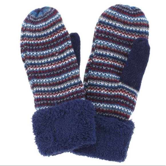 4bedbf5ff Cable Knit Striped Mittens Soft Plush Lining Boutique